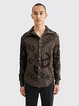 Telfar High Collar Mesh Panel Dress Shirt Black