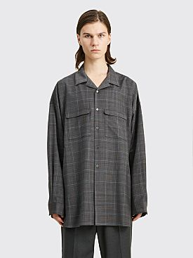 Toironier Open Collar Loose Wool Shirt Charcoal