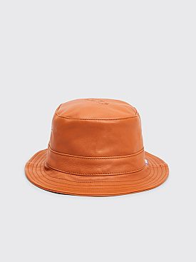 Très Bien / Sneeze Chesterfield Leather Bucket Hat Cognac