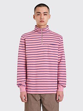 Très Bien Half Zip Sweatshirt Stripe Pink / Blue
