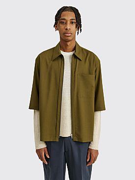 TRES BIEN ATELJÉ Three Quarter Sleeve Zip Shirt Olive Green