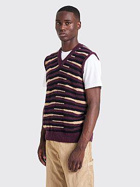 Très Bien Knit Vest Zig-Zag Boucle Aubergine
