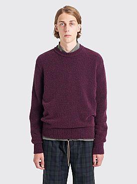Très Bien Drop Shoulder Knit Sweater Boucle Aubergine