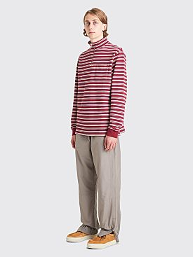 Très Bien Half Zip Sweater Stripe Brick Red