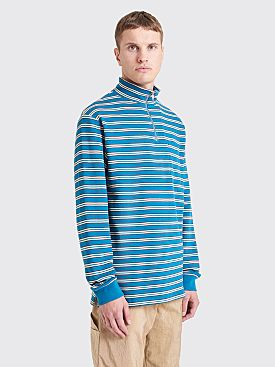 Très Bien Half Zip Sweater Stripe Dark Teal