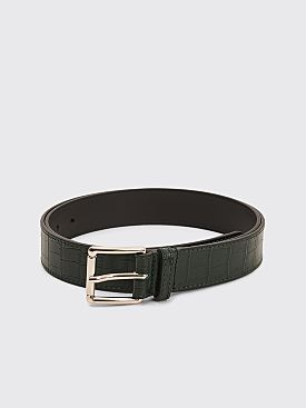 Très Bien Leather Belt Snake Print Dark Green