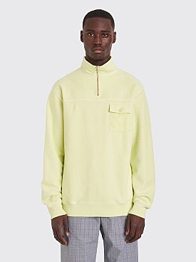 Très Bien Half Zip Reversed Loopback Sweatshirt Luminary Green