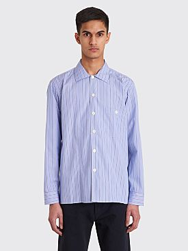 Très Bien Short Tunic Shirt Fine Poplin Blue Stripe