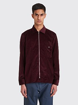 Très Bien Zip Tunic Shirt Soft Cord Burgundy