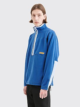 Très Bien Half Zip Teddy Fleece Jacket Slate Blue