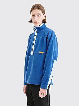 Très Bien Half Zip Teddy Fleece Jacket Slate Blue