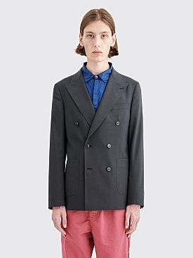 Très Bien Double Breasted Wool Jacket Dark Grey