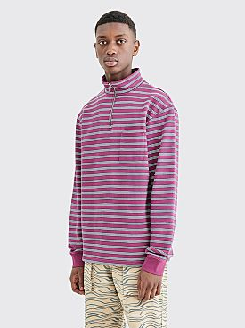 Très Bien Half Zip Loop Back Sweater Stripe Mauve