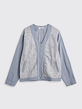 Très Bien Dual Fabric Zip Cardigan Pale Blue Grey