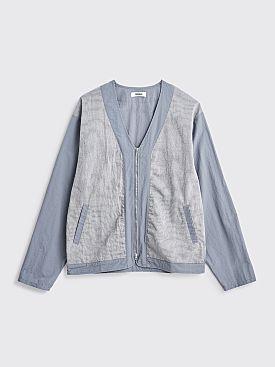 Très Bien Dual Fabric Zip Cardigan Pale Blue Grey
