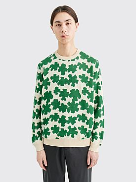 Très Bien Flowers Knit Sweater Beige / Green