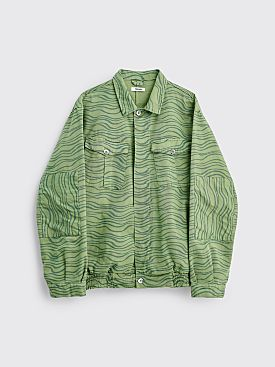 Très Bien Utility Shirt Jacket Printed Twill Green