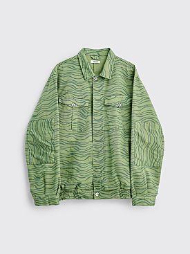 Très Bien Utility Shirt Jacket Printed Twill Green