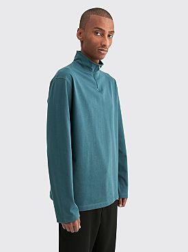 Très Bien Layer Half Zip Cotton Sweater Blue Fog