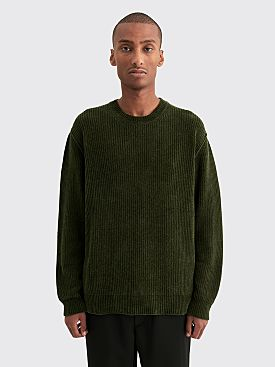 Très Bien Raw Seam Knit Sweater Chenille Dark Green