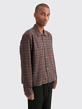 Très Bien Cropped Tunic Cotton Shirt Orange Plaid