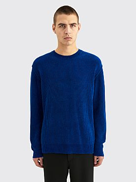 Très Bien Raw Seam Knit Sweater Chenille Cobalt Blue