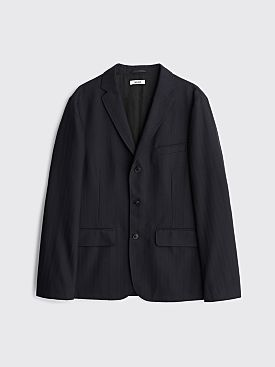 Très Bien Box Wool Jacket Herringbone Dark Navy