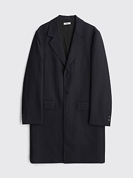Très Bien Classic Wool Coat Herringbone Dark Navy
