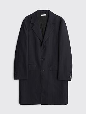 Très Bien Classic Wool Coat Herringbone Dark Navy
