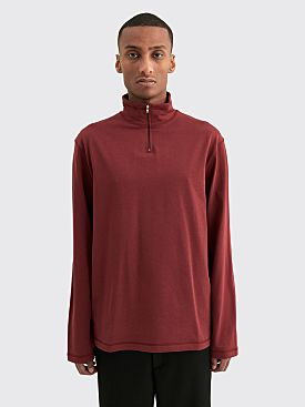 Très Bien Layer Half Zip Cotton Sweater Red Wine