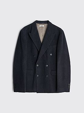 Très Bien Double Breasted Wool Flannel Jacket Pinstripe Dark Navy