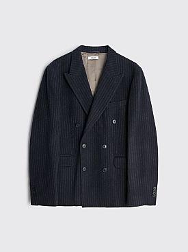 Très Bien Double Breasted Wool Flannel Jacket Pinstripe Dark Navy