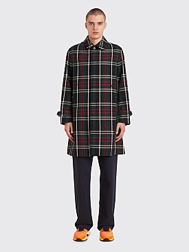 Undercover Tartan Wool Coat Checkered Green