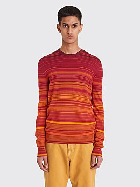Wales Bonner Striped Crewneck Sweater Rust Degrade