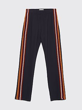 Wales Bonner Palms Crochet Stripe Trackpants Black