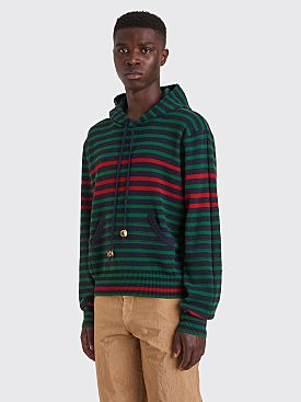 Wales Bonner Breton Hooded Wool Sweatshirt Stripe Navy / Forest Green
