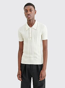 Wales Bonner Textured Knit Polo Ivory / Black