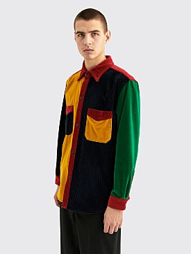 Wales Bonner Notting Hill Corduroy Velvet Patchwork Shirt Multi Color