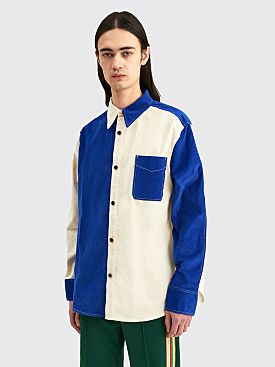 Wales Bonner Montego Corduroy Color-Block Shirt Ivory / Blue