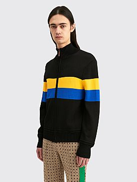 Wales Bonner Saint Jones Zip Up Cardigan Black / Yellow
