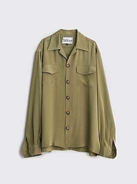 Winnie New York Camp Collar Silk Shirt Olive
