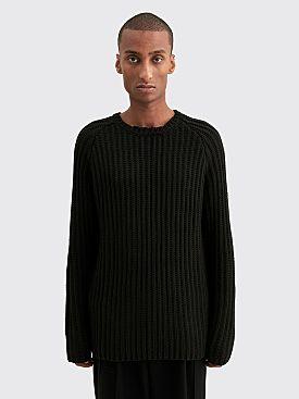 Winnie New York Destroyed Crew Neck Wool Sweater Black