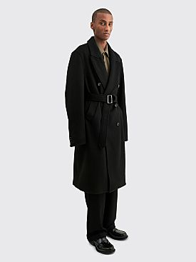 Winnie New York Peak Lapel Classic Wool Overcoat Black