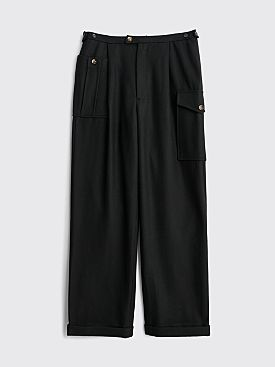 Winnie New York Pleated Pocket Wool Trousers Black