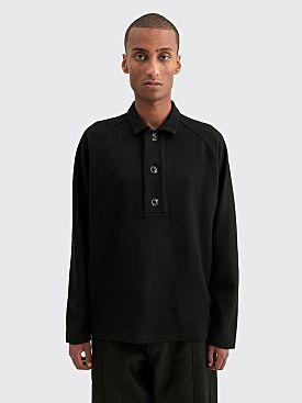 Winnie New York Oversized Placket Polo Sweater Black