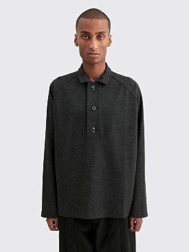 Winnie New York Oversized Placket Polo Sweater Grey