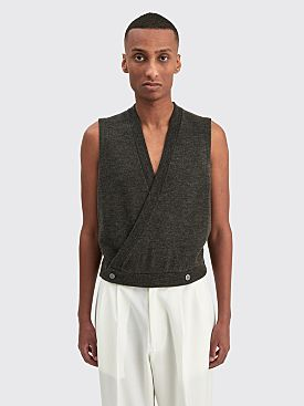 Winnie New York Double Breasted Wool Sweater Vest Charcoal