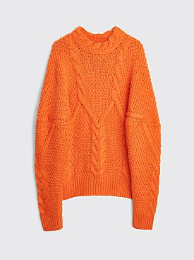 Winnie New York Intwined Cable Knit Wool Sweater Tangerine