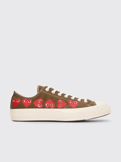 half off classic style factory outlet Comme des Garçons Play x Converse Chuck Taylor 70 Multi Hearts Low Khaki