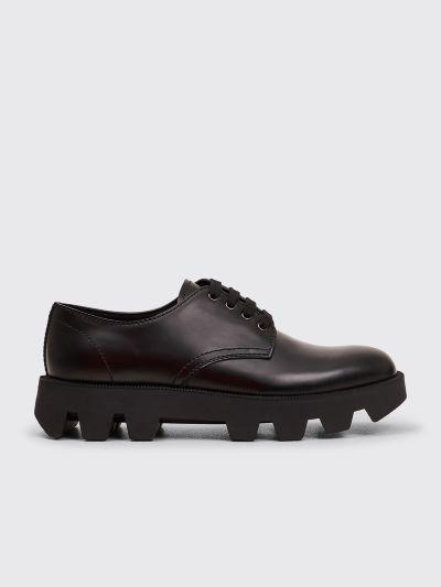 Prada Leather Lace Up Shoes Black